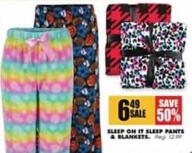 Blains Farm Fleet Black Friday: Sleep On It Sleep Pants and Blankets for $6.49