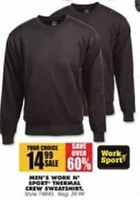 Blains Farm Fleet Black Friday: Work n' Sport Men's Thermal Crew Sweatshirt for $14.99