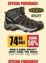 Blains Farm Fleet Black Friday: Keen Utility Men's Cody Steel Toe Boot for $74.99