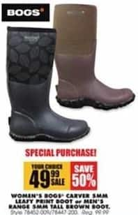 Blains Farm Fleet Black Friday: Bogs Women's Carver 5MM Leafy Print Boot for $49.99