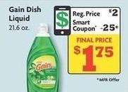 Family Dollar Black Friday: Gain 21.6 oz Dish Liquid w/Smart Coupon for $1.75