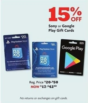 Family Dollar Black Friday: Sony PlayStation or Google Play Gift Cards - 15% Off