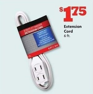 Family Dollar Black Friday: 6-ft Extension Cord for $1.75