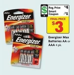 Family Dollar Black Friday: Energizer Max AA or AAA 4-Pack