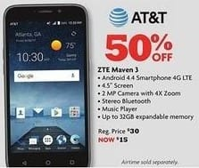 "Family Dollar Black Friday: AT&T ZTE Maven 3 4.5"" Android Smartphone for $15.00"