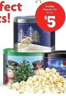 Family Dollar Black Friday: 18.5 oz Holiday Popcorn Tin for $5.00
