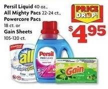 Family Dollar Black Friday: Persil 40 oz Liquid, All 22-24 ct Mighty Pacs or 18 ct Powercore Packs or Gain 105-120 ct Dryer Sheets for $4.95