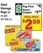 Family Dollar Black Friday: Glad Quart or Gallon Storage Bags 40-160 ct w/Smart Coupon for $2.50
