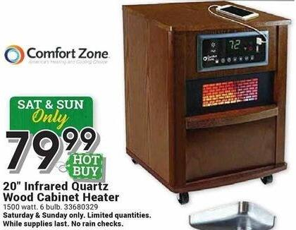 """Farm and Home Supply Black Friday: Comfort Zone 20"""" Infrared Quartz Wood Cabinet Heater for $79.99"""