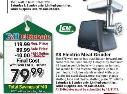 Farm and Home Supply Black Friday: LEm #8 Electric Meat Grinder for $79.99 after $10.00 rebate