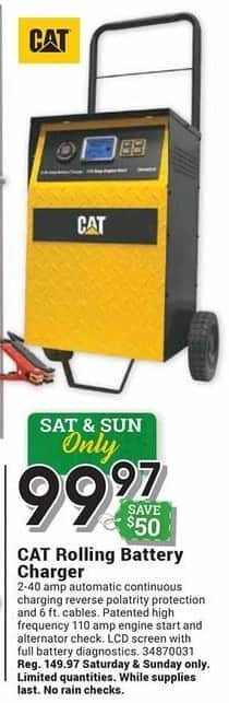 Farm and Home Supply Black Friday: CAT Rolling Battery Charger for $99.97