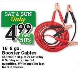 Farm and Home Supply Black Friday: 16-ft 8 Ga Booster Cables for $4.99
