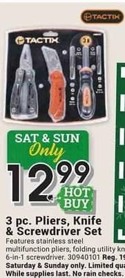 Farm and Home Supply Black Friday: Tactix 3-pc Pliers, Knife and Screwdriver Set for $12.99