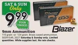 Farm and Home Supply Black Friday: Blazer 9mm 115 or 124 Grain Ammunition for $9.99
