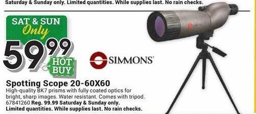 Farm and Home Supply Black Friday: Simmons 20-60X60 Spotting Scope for $59.99