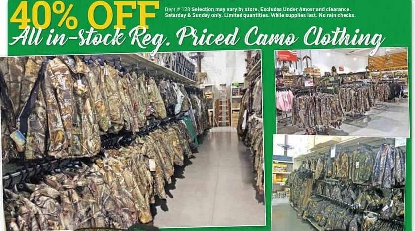 Farm and Home Supply Black Friday: All In-Stock Regular Priced Camo Clothing - 40% Off