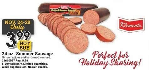 Farm and Home Supply Black Friday: Klement's 24 oz Summer Sausage for $3.99