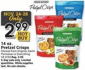 Farm and Home Supply Black Friday: Pretzel Crisps 14 oz Bag for $2.99