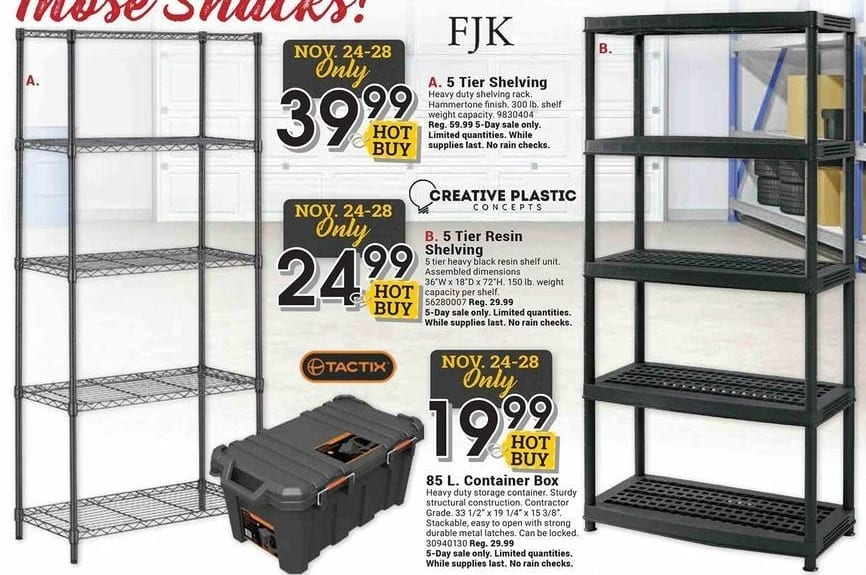 Farm and Home Supply Black Friday: FJK 5 Tier Shelving Rack for $39.99