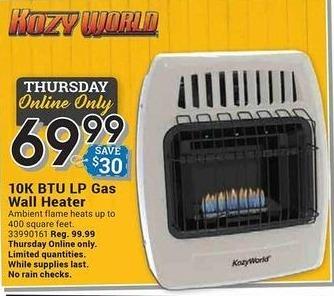 Farm and Home Supply Black Friday: Kozy World 10K BTU LP Gas Wall Heater for $69.99