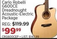 Sam Ash Black Friday: Carlo Robelli G600CE Dreadnought Acoustic-Electric Package for $99.99