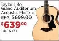 Sam Ash Black Friday: Taylor 114e Grand Auditorium Acoustic-Electric Guitar for $639.00