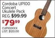 Sam Ash Black Friday: Cordoba UP100 Concert Ukulele Pack for $79.99