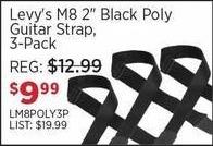 "Sam Ash Black Friday: Levy's M8 2"" Black Poly Guitar Strap 3-Pack for $9.99"