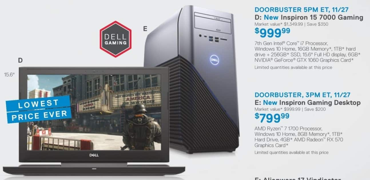 "Dell Home & Office Cyber Monday: Dell Inspiron 15 7000 15.6"" Laptop: Intel i7 7th Gen, 16GB, 256GB SSD, 1TB HDD, Win 10 Home for $999.99"