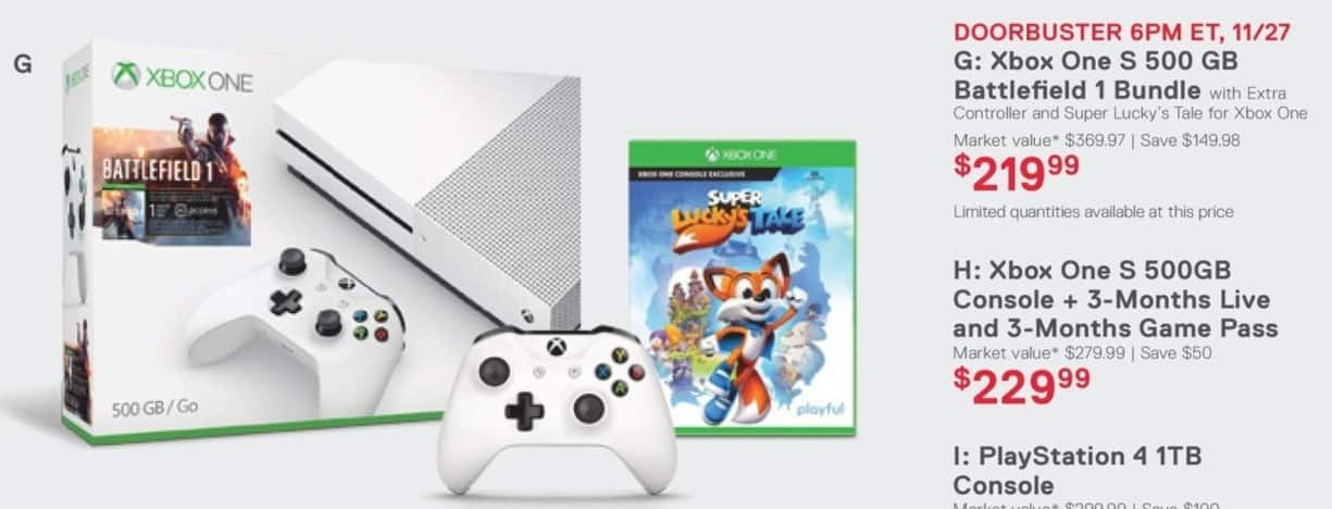 Dell Home & Office Cyber Monday: Xbox One S 500GB Battlefield 1 Bundle + Extra Controller + Super Lucky's Tale for $219.99