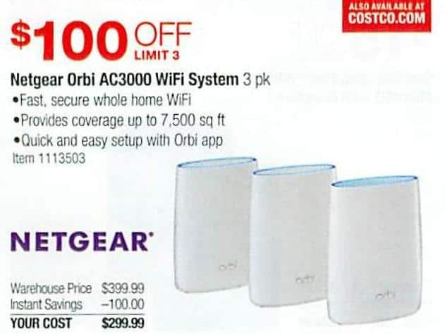 Costco Wholesale Black Friday: Netgear Orbi AC3000 WiFi System for