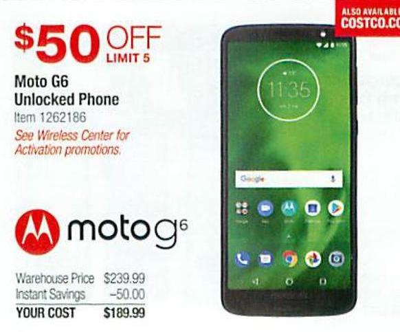 Costco Wholesale Black Friday: Moto G6 Unlocked Phone for $189 99