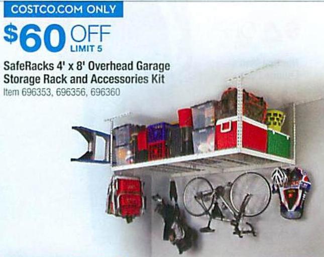 Costco Wholesale Black Friday: SafeRacks 4u0027 X 8u0027 Overhead Garage Storage  Rack And Accessories Kit   $60 Off
