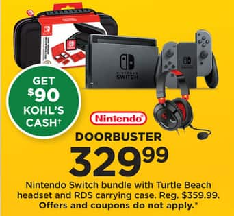 da3cc1ba4069 Kohl s Black Friday  Nintendo Switch Bundle w  Turtle Beach Headset and RDS  Carrying Case +  90 Kohl s Cash for  329.99