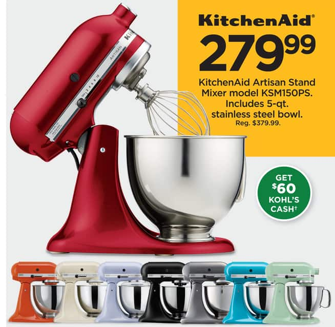 Kohl S Black Friday Kitchenaid Ksm150ps 5 Qt Stand Mixer 60 Cash