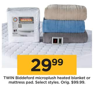 Kohl S Black Friday Biddeford Microplush Heated Blanket Or Mattress Pad Twin Select Styles For 29 99