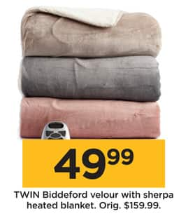 Kohl S Black Friday Biddeford Velour And Sherpa Heated Blanket Twin For 49 99