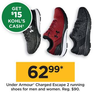 7bfbfbba055 Kohl s Black Friday  Under Armour Men s or Women s Charged Escape 2 Running  Shoes +  15 Kohl s Cash for  62.99