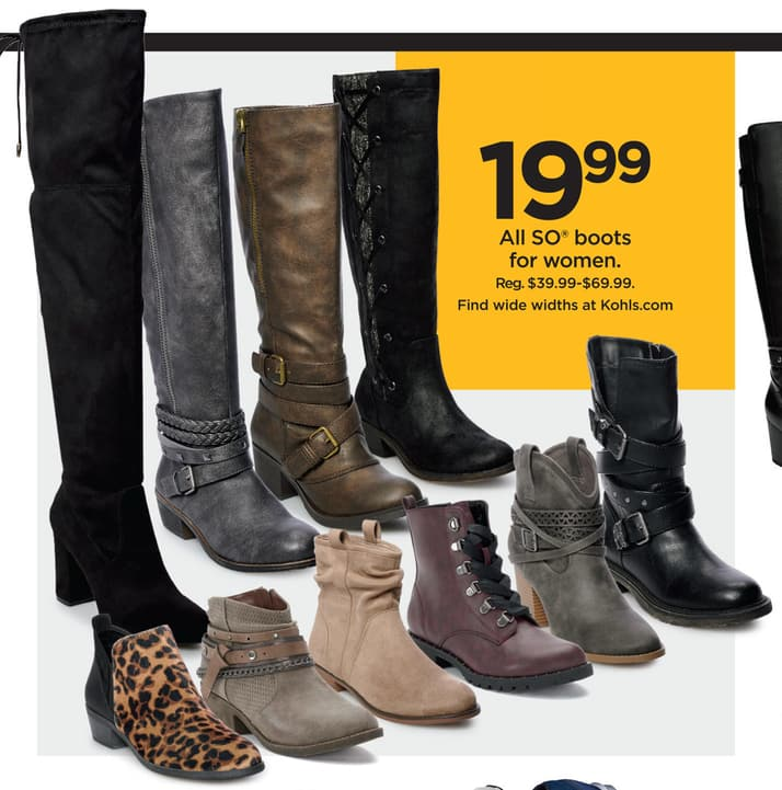 7df1a263d55 Kohl s Black Friday  Entire Stock SO Women s Boots for  19.99 ...