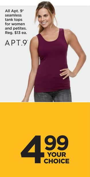 4f279d797ec56d Kohl s Black Friday  Entire Stock Apt 9 Women s and Petites  Seamless Tank  Tops for  4.99
