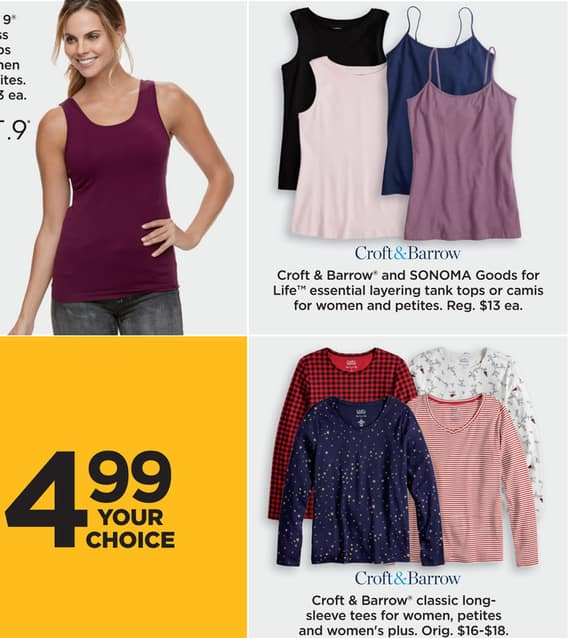 c1dba1d59 Kohl's Black Friday: Croft & Barrow and Sonoma Goods for Life Women's and  Petites' Essential Layering Tank Tops or Camis for $4.99