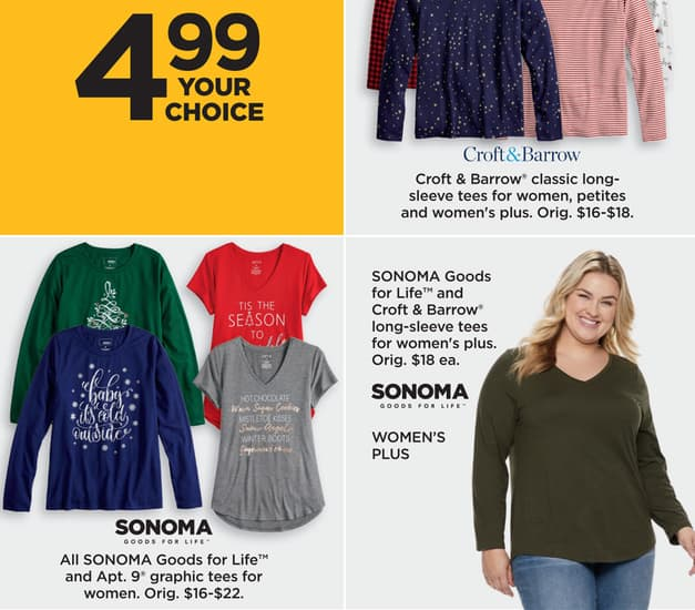 df3e5295a Kohl's Black Friday: Sonoma Goods for Life and Croft & Barrow Women's Plus  Long-Sleeve Tees for $4.99