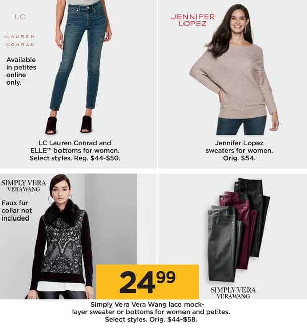 f8d57b8523941 Kohl's Black Friday: Simply Vera Vera Wang Women's and Petites' Lace  Mock-Layer Sweater or Bottoms, Select Styles for $24.99