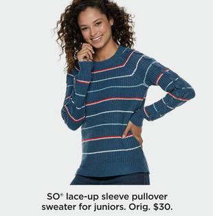 Kohl\u0027s Black Friday SO Juniors\u0027 Lace,Up Sleeve Pullover
