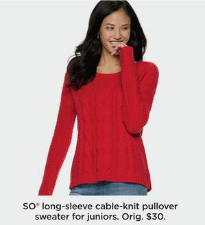 Kohl s Black Friday  SO Juniors  Long-Sleeve Cable-Knit Pullover Sweater for 12bb5f8fc
