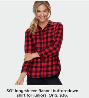 6c1d252bb Kohl's Black Friday: SO Juniors' Long-Sleeve Flannel Button-Down Shirt for