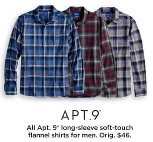 56dafa6fad8 Kohl s Black Friday  Entire Stock Apt 9 Men s Long-Sleeve Soft-Touch  Flannel Shirts for  14.99