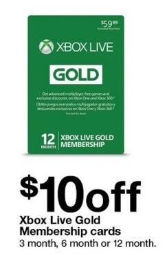 Xbox Live Gold Membership Cards - $10 Off - Slickdeals net