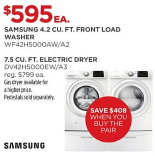 Samsung 4 2 Cu  Ft  Front Load Washer (WF42H5000AW/A2) or