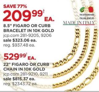 Made In Italy 8 5 Figaro Or Curb 10k Gold Bracelet For 209 99